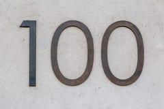 Segno cento/100 del metallo Fotografia Stock