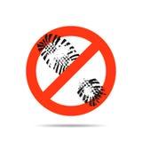 Segno che proibisce passeggiata qui nella scarpa Illustrazione di vettore Fotografia Stock