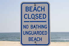 Segno chiuso spiaggia Immagine Stock Libera da Diritti