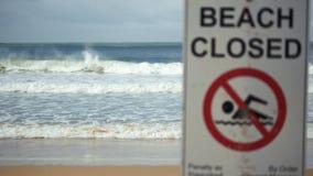Segno chiuso spiaggia Fotografie Stock Libere da Diritti