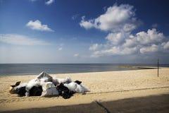 Segno chiuso spiaggia, litorale del golfo Fotografia Stock