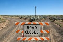 Segno chiuso strada della costruzione Fotografie Stock Libere da Diritti