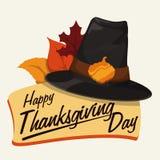 Segno classico di ringraziamento con il cappello del pellegrino e Autumn Leaves, illustrazione di vettore Immagine Stock