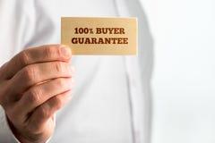 Segno con i testi 100% di garanzia del compratore Immagini Stock Libere da Diritti