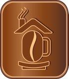 Segno con il chicco e la casa di caffè Fotografia Stock Libera da Diritti