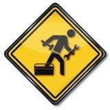 Segno con il riparatore, il martello ed il servizio di assistenza al cliente illustrazione di stock