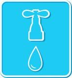 Segno con il rubinetto e la goccia di acqua Fotografia Stock Libera da Diritti