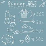 Segno con informazioni sulla vendita di estate Fotografia Stock