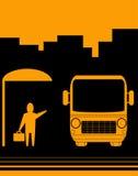 Segno con la fermata dell'autobus di immagine Fotografia Stock