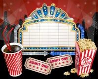 Segno con popcorn e cola Fotografia Stock Libera da Diritti