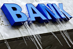 Segno congelato della banca Immagine Stock Libera da Diritti