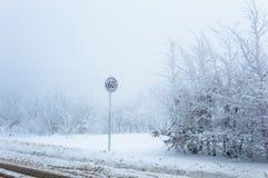 Segno congelato limite di velocità su un fondo nevoso di inverno fotografia stock