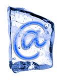 Segno @ congelato nel ghiaccio Immagine Stock Libera da Diritti