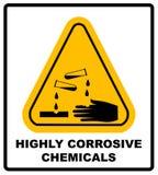 Segno corrosivo Segnale di pericolo Segno del pericolo Fotografia Stock