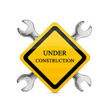 Segno in costruzione Fotografia Stock Libera da Diritti