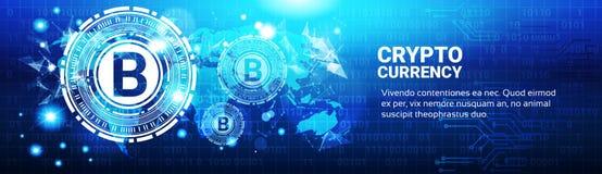 Segno cripto di Bitcoin di concetto di valuta sulla mappa di mondo blu Immagine Stock Libera da Diritti