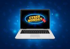 Segno cyber di lunedì sullo schermo del computer portatile Insegna del fondo di vendita del negozio di Internet di vettore Sconto royalty illustrazione gratis