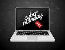 Segno cyber di lunedì sullo schermo del computer portatile Insegna del fondo di vendita del negozio di Internet di vettore Sconto illustrazione di stock