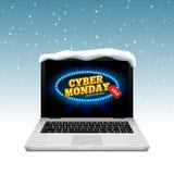 Segno cyber di lunedì sullo schermo del computer portatile Vector lo sconto online di vendita sulla neve del fondo dell'inverno illustrazione di stock