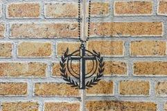 Segno d'acciaio della croce Immagine Stock Libera da Diritti