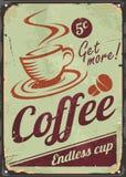 Segno d'annata del caffè sul vecchio fondo del metallo illustrazione vettoriale
