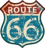 Segno d'annata dell'itinerario 66, vettore grungy illustrazione di stock