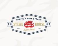 Segno d'annata della carne di qualità premio Etichetta, emblema o Logo Template di tipografia dello steakhouse Icona fresca dell' illustrazione di stock