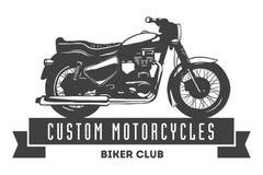 Segno d'annata ed etichetta del club del motore su fondo bianco Emblema dei motociclisti e dei cavalieri Immagine Stock Libera da Diritti