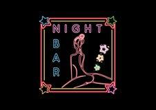Segno d'ardore al neon di Antivari di notte Fotografia Stock Libera da Diritti