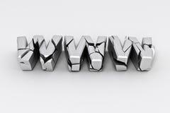 Segno d'argento rotto di WWW Fotografia Stock