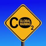 Segno d'avvertimento delle emissioni di CO2 Immagini Stock Libere da Diritti