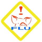 Segno d'avvertimento di influenza dei maiali Fotografia Stock Libera da Diritti