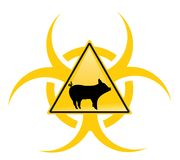 Segno d'avvertimento di influenza dei maiali con il bio- simbolo di rischio. Fotografia Stock Libera da Diritti