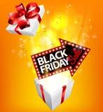 Segno d'esplosione del regalo di vendita di Black Friday Fotografie Stock