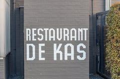Segno dal ristorante De Kas At Amsterdam The Netherlands 2018 immagine stock