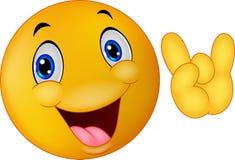 Segno dante sorridente della mano dell'emoticon Fotografia Stock