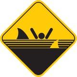 Segno degli squali di avvertenza Fotografia Stock Libera da Diritti