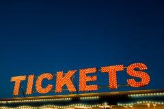 Segno dei biglietti fotografie stock libere da diritti