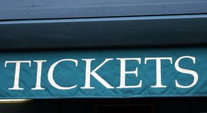 Segno dei biglietti Fotografia Stock Libera da Diritti