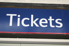Segno dei biglietti Immagine Stock Libera da Diritti