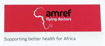 Segno dei docters di volo di Amref in Africa Fotografie Stock