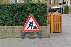 Segno dei lavori stradali Immagini Stock Libere da Diritti