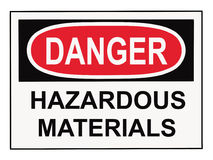 Segno dei materiali pericolosi del pericolo Fotografie Stock
