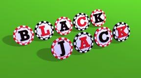 Segno del black jack sui chip Fotografia Stock Libera da Diritti