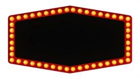 Segno del bordo della luce della tenda foranea retro su fondo bianco rappresentazione 3d Fotografia Stock Libera da Diritti