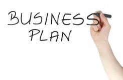 Segno del business plan scritto da un pennarello sul bordo di vetro Fotografie Stock Libere da Diritti