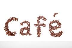 Segno del caffè fatto dei chicchi di caffè Fotografie Stock Libere da Diritti