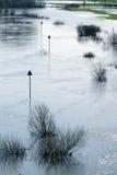 Segno del canale navigabile durante l'inondazione Fotografie Stock