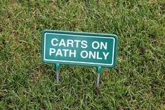 Segno del carrello di golf Fotografia Stock Libera da Diritti