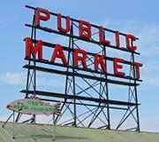 Segno del centro del mercato pubblico di Seattle Fotografia Stock